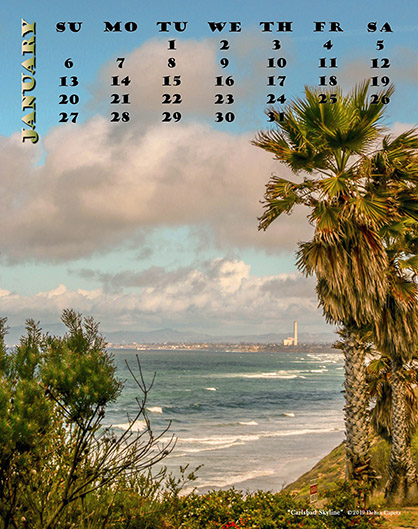 January 14, 2019 Carlsbad Calendar 2019 Photo Art Calendar | Photography by Debra Capetz | Calendars